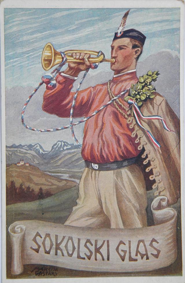 Razglednica Sokolski glas sa I svesokolskog sleta u Ljubljani 1922, fond Gradski muzejs Sombor