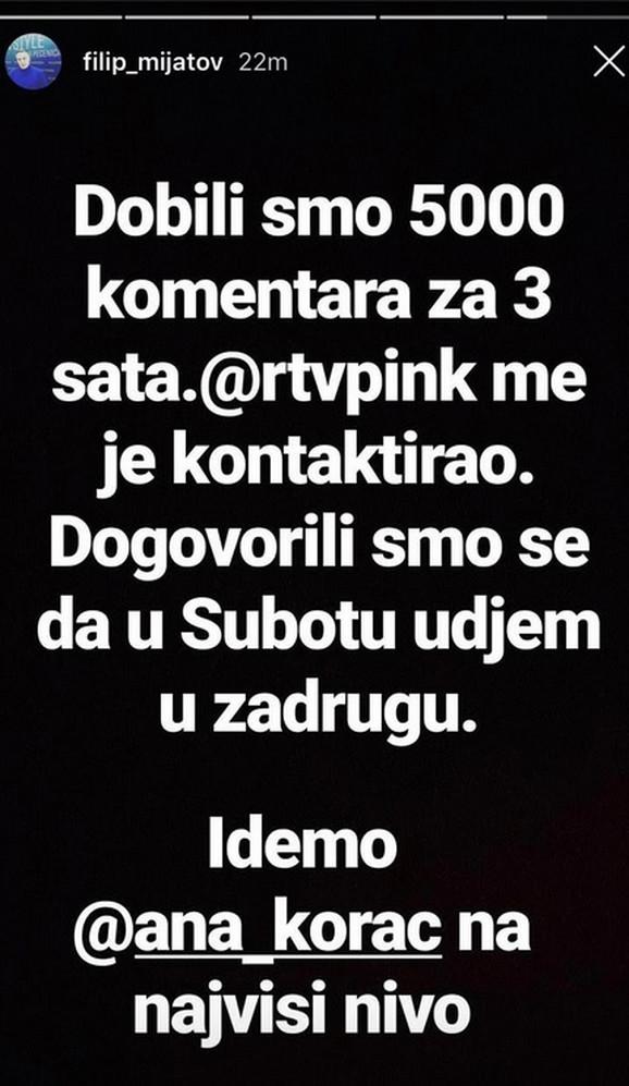 Filip Mijatov, Instagram