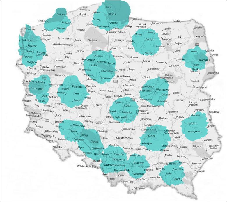 Mapa zasięgu DAB+ w Polsce. Źródło: Polskie Radio