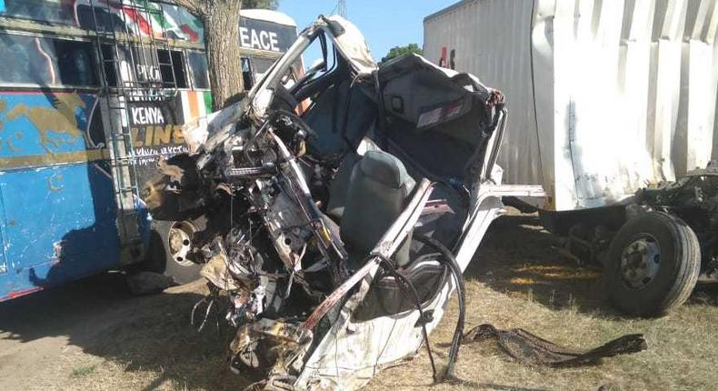 Wreckage of the Moyale Linear bus and G4S lorry