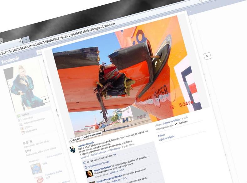 Monika Olejnik wrzuciła na Facebooka zdjęcie uszkodzonego samolotu