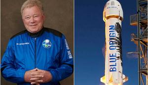 William Shatner (left) purchased a seat on Blue Origin's New Shepard rocket (right).