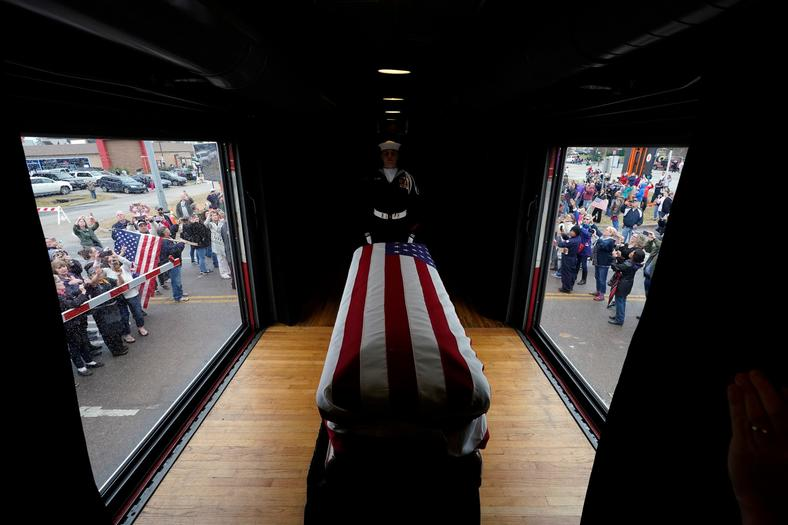 The flag-draped casket of former President George H.W. Bush.