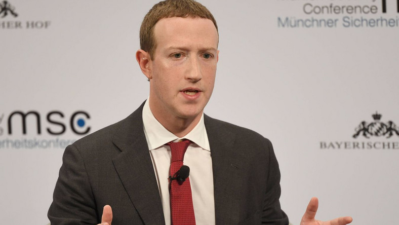 dpatop - 15 February 2020, Bavaria, Munich: Mark Zuckerberg, Chairman of Facebook, speaks during the 56th Munich Security Conference. Photo: Sven Hoppe/dpa Dostawca: PAP/DPA.