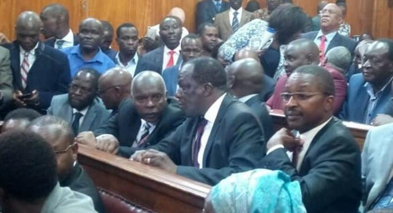 Governors, Senators, MCAs hold protest on division of revenue at Supreme Court building