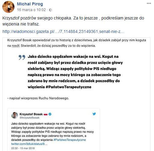 facebookowy post Michała Piróga