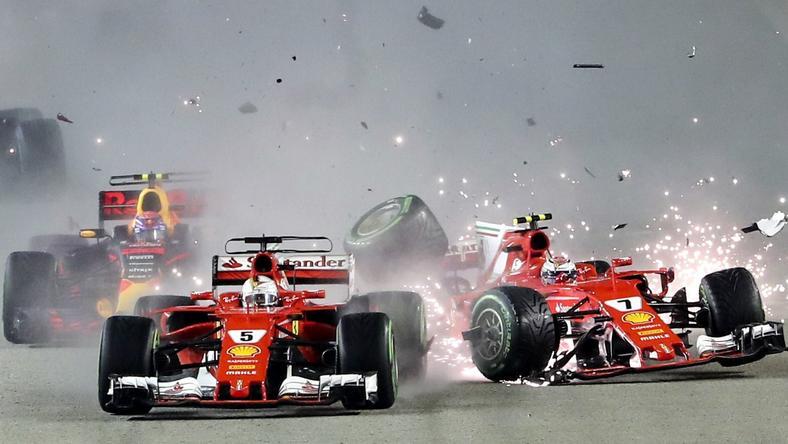 Zderzenie bolidów Ferrari
