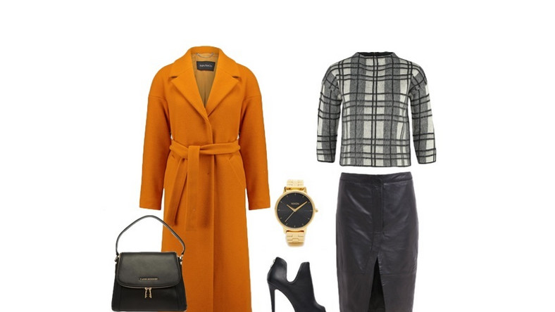 Skórzana spódnica w wersji midi, stonowany sweter w kratę i eleganckie buty na wysokim obcasie to solidna podstawa. Na wierzch narzuć szlachetny, wełniany płaszcz w intensywnym kolorze. Szyku całości dodadzą ci stylowe akcesoria, takie jak czarna torebka i złoty zegarek.