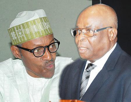 Buhari vs. Onnoghen. (Nigerian Tribune)