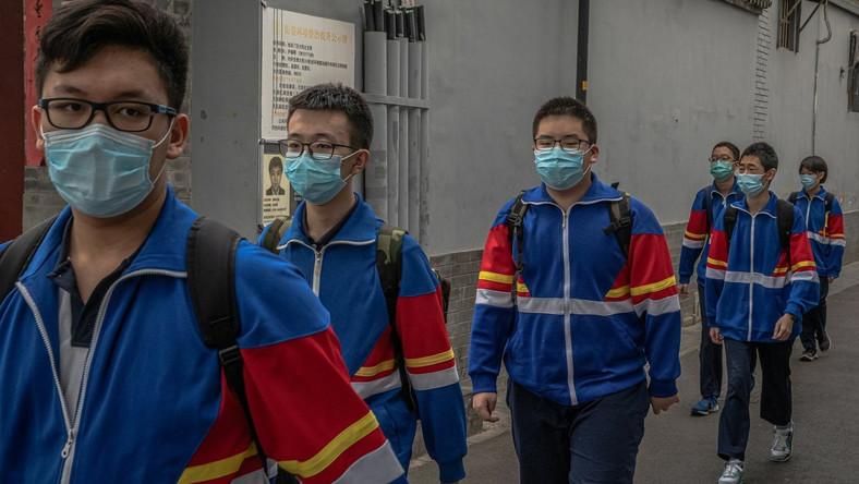 Uczniowie jednej ze szkół w Pekinie