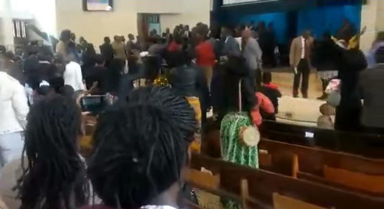 A screen-grab image of the chaos at Nairobi Central SDA church