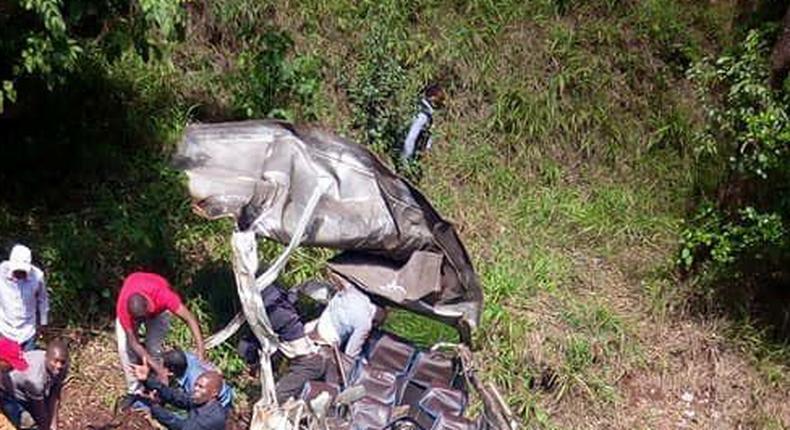 Scene of the accident along Kiambu Road where matatu plunged into Karura Forest (Twitter)