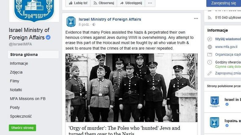 Post zamieszczony przez Ministerstwo Spraw Zagranicznych Izraela