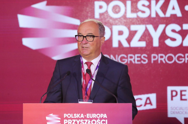 Wicemarszałek Sejmu Włodzimierz Czarzasty podczas Warmińsko-Mazurskiego Kongresu Lewicy w Olsztynie