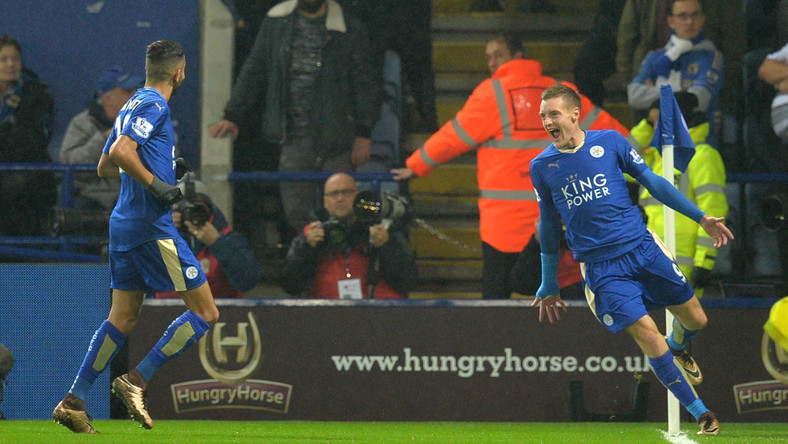 Jamie Vardy and Riyad Mahrez celebrate after scoring during the English Premier League football match between Leicester City and Chelsea