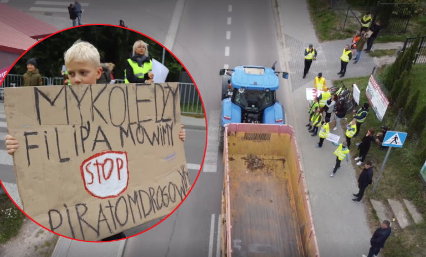 Mieszkańcy Krężnicy Jarej wyszli na drogę, żeby zaprotestować.