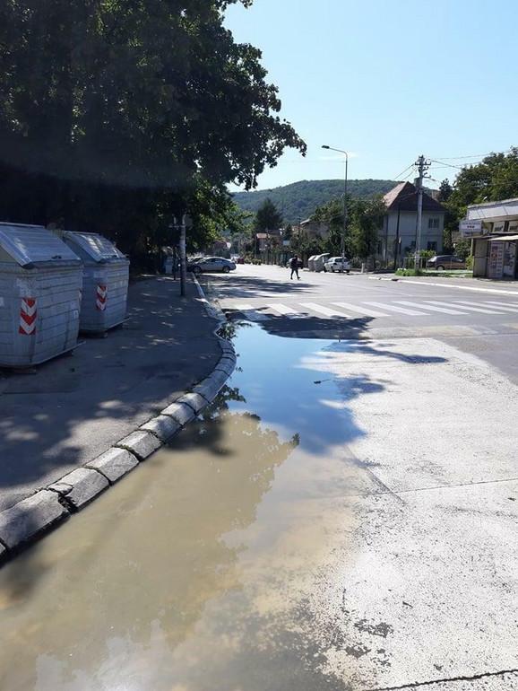 Voda teče niz celu ulicu, sve do Rakovačkog puta