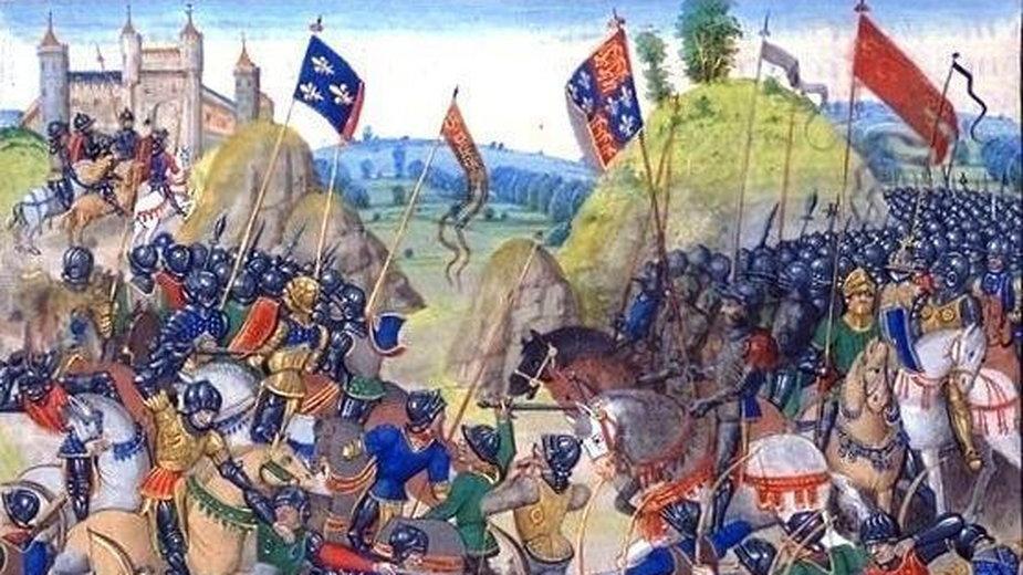 Bitwa pod Crécy na miniaturze z kroniki Froissarta (w domenie publicznej)