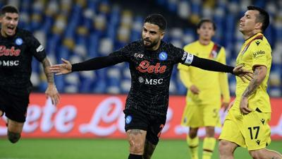 Two of a kind: Napoli's Lorenzo Insigne celebrates after scoring a second penalty Creator: Filippo MONTEFORTE