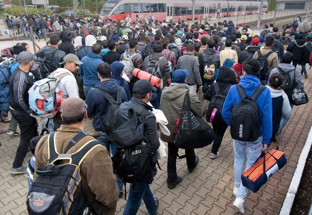 Migranici przywający na stację w Hegyeshalom na Węgrzech. Zostani przestransportowani z chorwackiej granicy