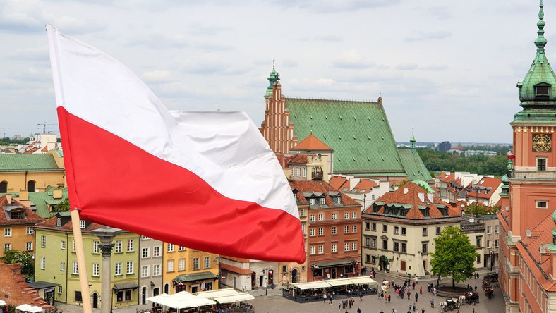 Polska flaga, Warszawa, Plac Zamkowy