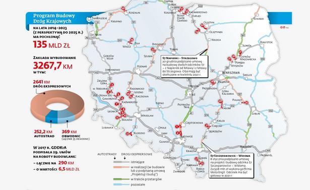 Program budowy dróg krajowych - mapa