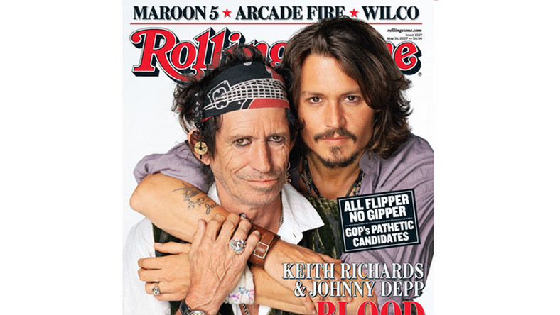 "Keith Richards i Johnny Depp na okładce magazynu ""Rolling Stone"", maj 2007"