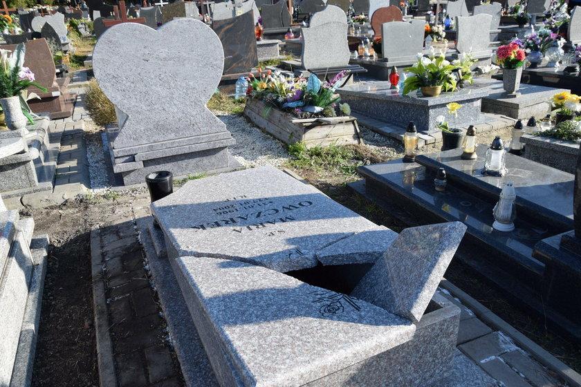 Zdewastowany cmentarz