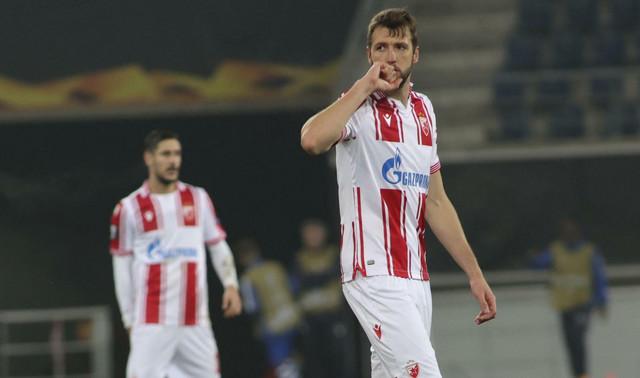 Nemanja Milunović slavi posle gola na meču Gent - FK Crvena zvezda
