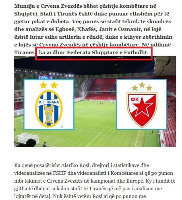 """Deo teksta """"Panorame"""" u kome se otkriva ko sve pomaže FK Tirani za meč sa Zvezdom"""