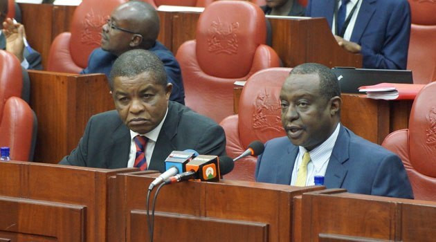 KRA Commissioner-General John Njiraini (L) with Treasury CS Henry Rotich at parliament (twitter)