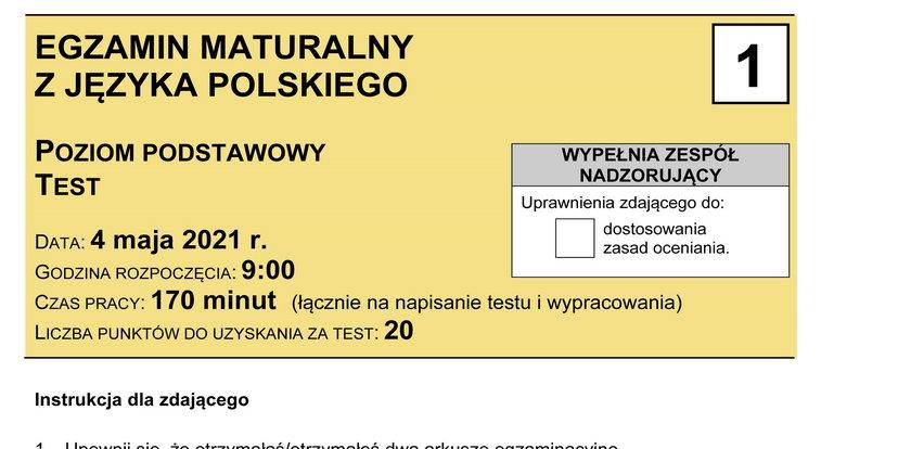 Matura 2021. Egzamin z języka polskiego: tematy, arkusze egzaminacyjne CKE