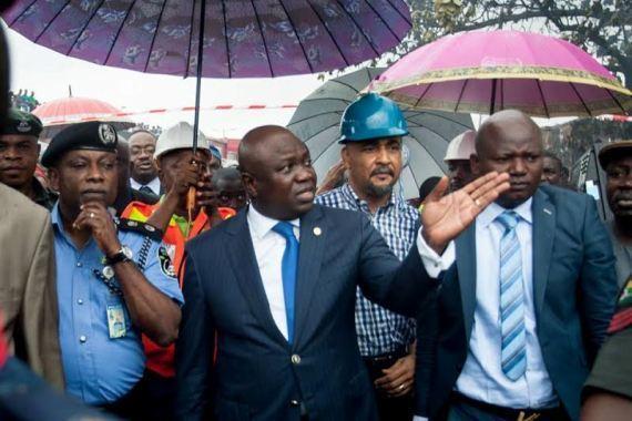 Lagos State Governor, Akinwunmi Ambode visits scene of Iyana Ipaja fire incident on June 2, 2015.