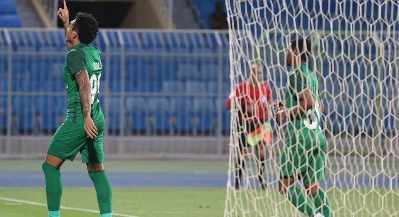 On target: Ahli forward Igor Jesus celebrates his goal against Al Hilal Creator: Fayez Nureldine