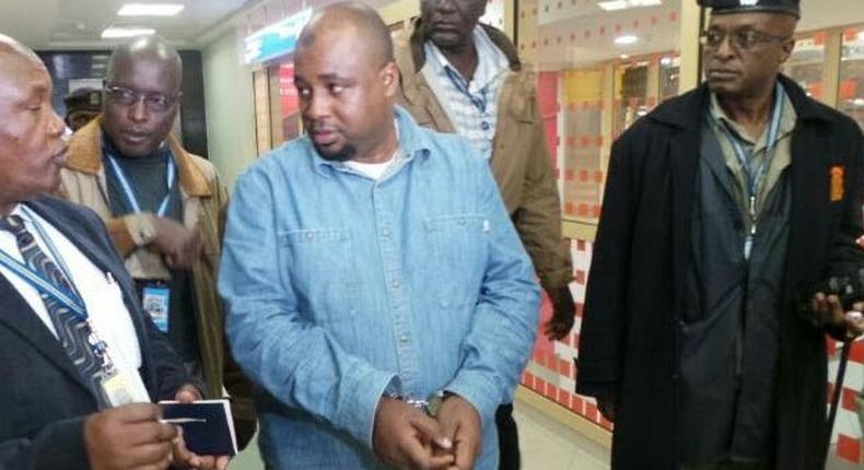 The suspects Ndechumia Bilali Kimali at JKIA airport