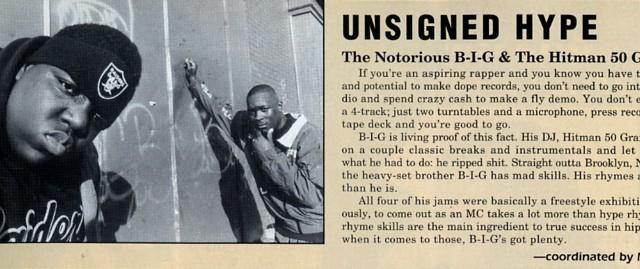 Notorious B.I.G in the Unsigned Hype section of THE SOURCE in March 1992, ISSUE #30 (THE SOURCE)