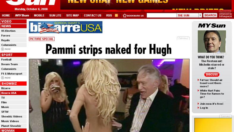 """Seks-bomba rozebrała się do rosołu przed szefem """"Playboya"""" Hugh Hefnerem"""