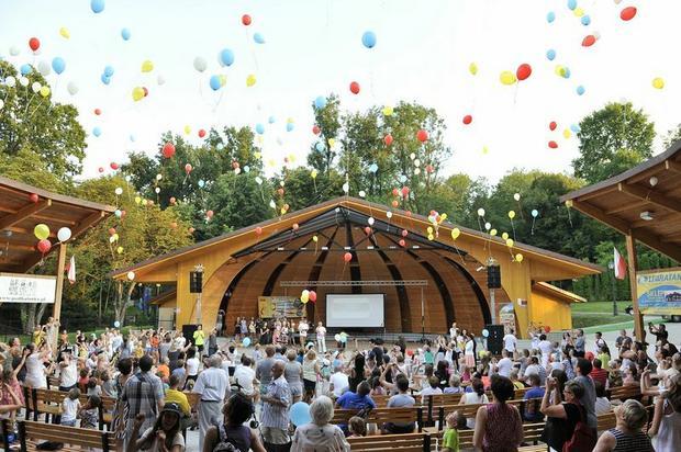 Rabka-Zdrój. Amfiteatr w Parku zdrojowym.