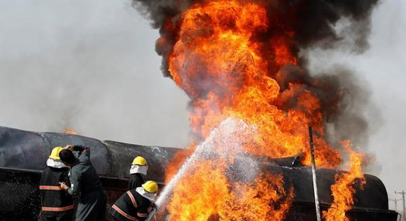 File image of a fuel tanker on fire