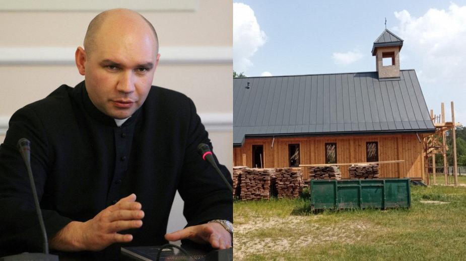 Po lewej ksiądz Tomasz Duszkiewicz, a po prawej budowa w Czerlonce