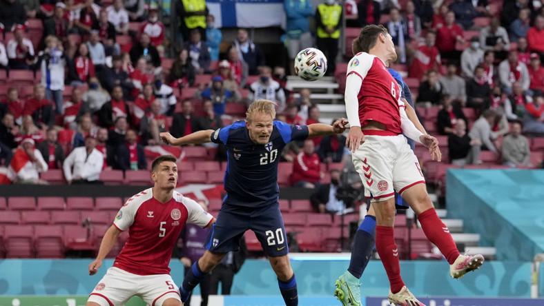 Fin Joel Pohjanpalo w trakcie meczu Dania - Finlandia w Kopenhadze