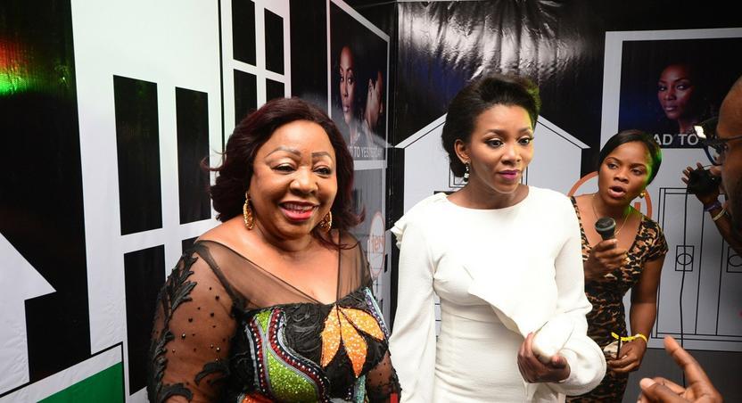 Ita Giwa and Genevieve Nnaji at the world premiere of Road to Yesterday.