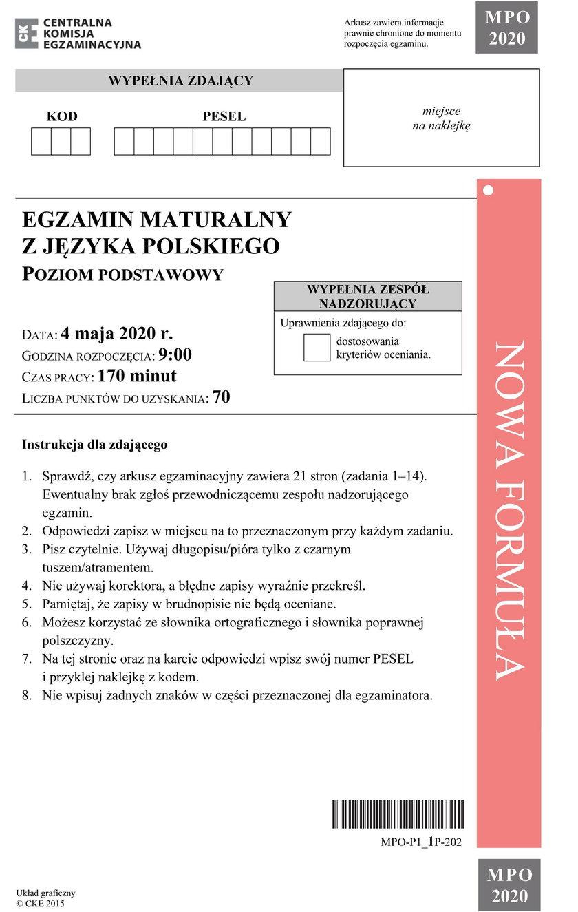 Egzamin maturalny z j. polskiego. Arkusz CKE