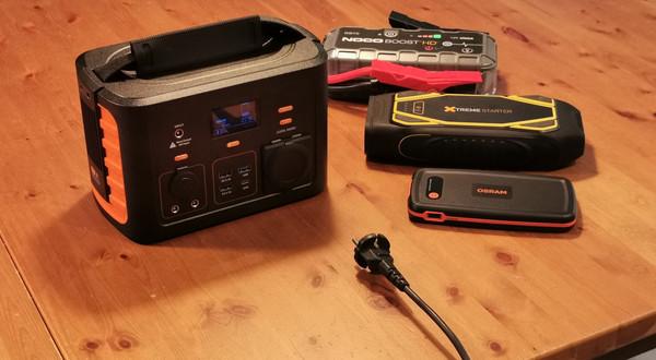 Mobilna stacja ładująca Storm XP 300 oraz powerbanki rozruchowe: Xtreme starter XS1600, Noco Boost HD GB70, Osram OBSL200