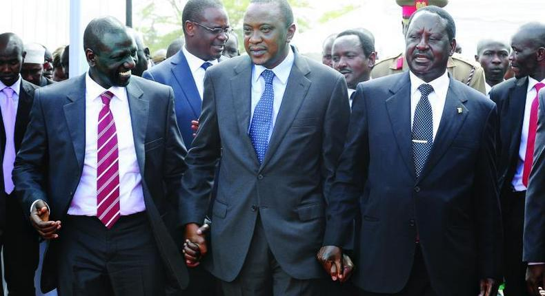 File image of DP Ruto(L), President Kenyatta (Centre) and Raila Odinga (R) at a past event