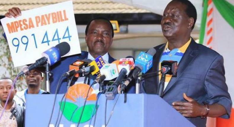Raila Odinga and Kalonzo Musyoka during at a past Nasa Presser