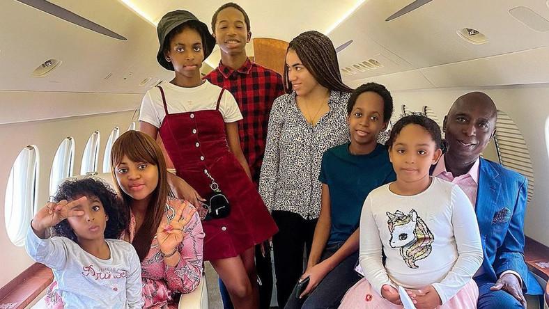 Ned Nwoko, wife Regina Daniels and his children [PrinceNedNwoko]