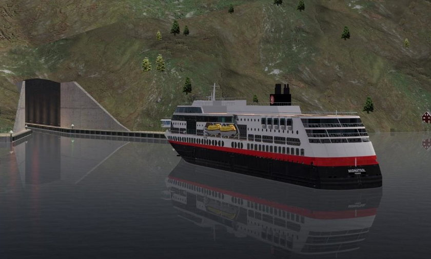 norwegia kanał podziemny dla statków wizualizacja