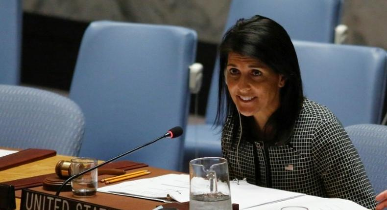 US Ambassador to the UN Nikki Haley speaks as she attends a UN Security Council meeting on the situation in the Middle East on April 12, 2017 at UN headquarters in New York