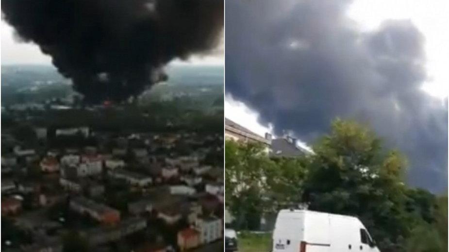 Pożar w Sosnowcu. Nagrania użytkowników Twittera